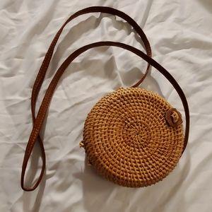 Handmade Circle Straw Crossbody Bag
